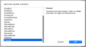 Add Event Handler Dialog showing Pushbutton Pressed Event Selected